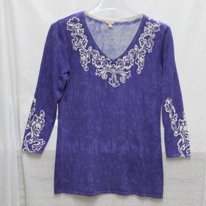 Reba Purple Ladies Top with Silver Embellishments